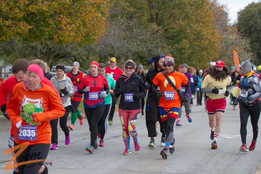 Halloween Athletes Running in Costume