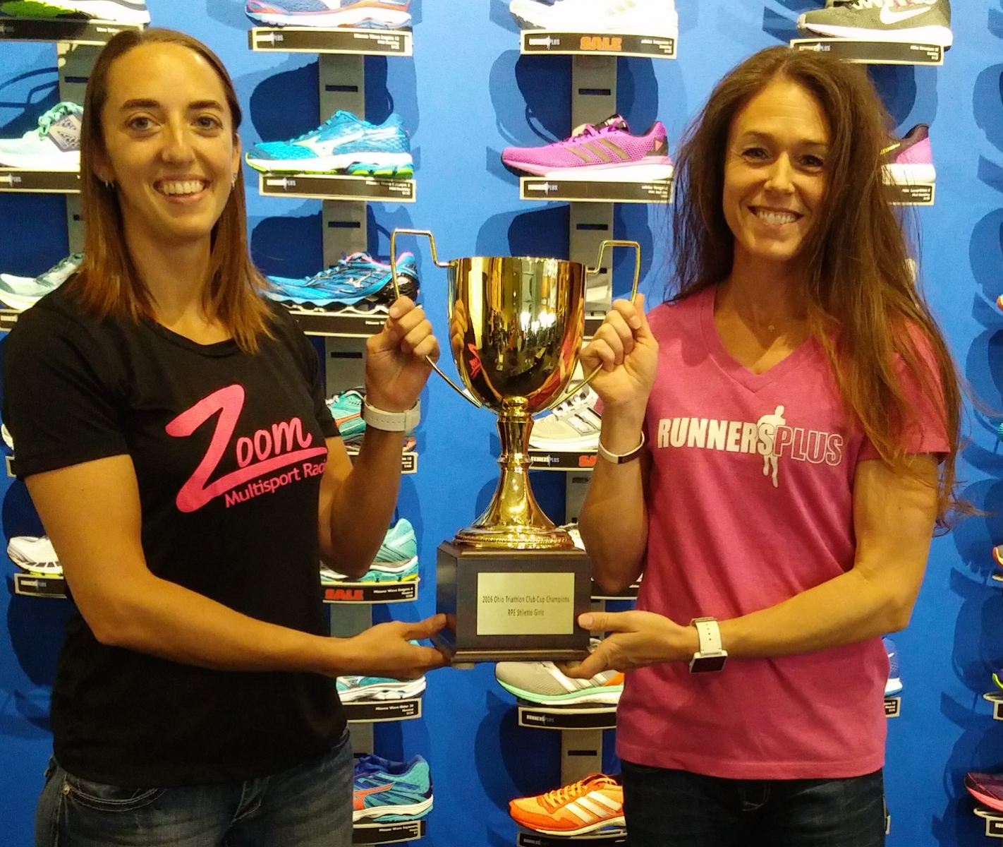 Runners Plus Zoom with Ohio Triathlon Club Cup Trophy