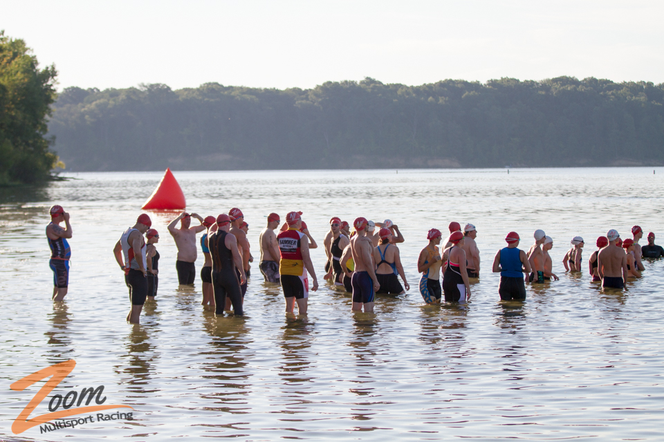 Athletes Preparing for Swim Start at Triathlon