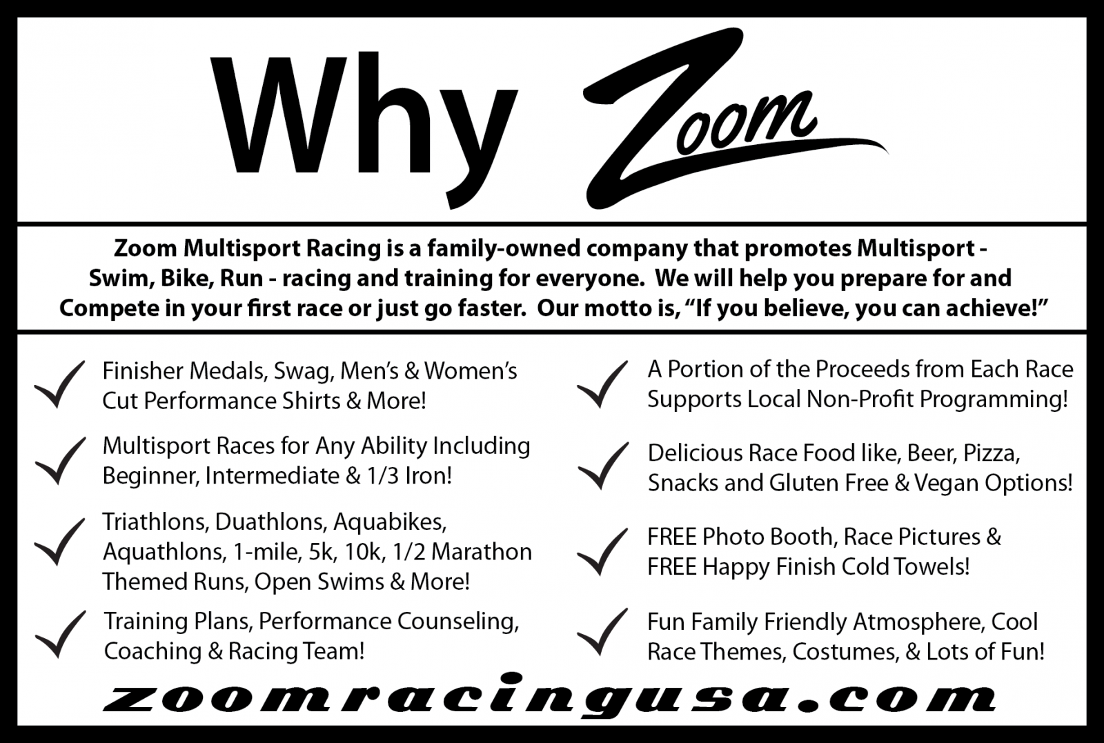 Zoom Tri Series Information Card